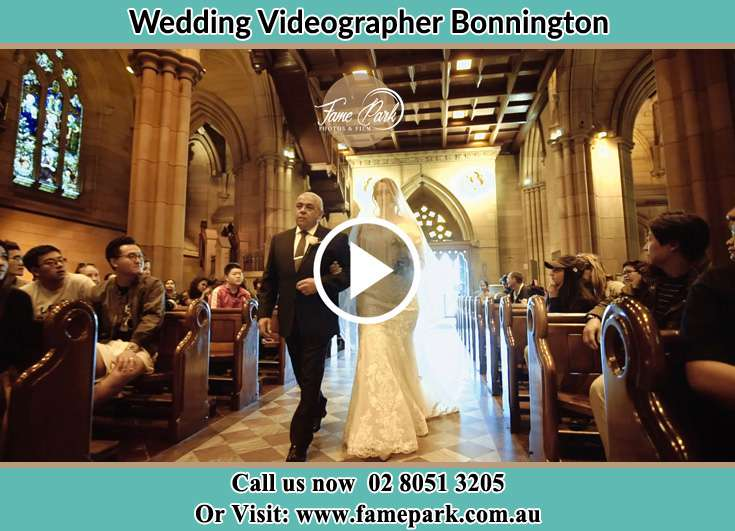 The Bride walking down the aisle with her father Bonnington NSW 2587