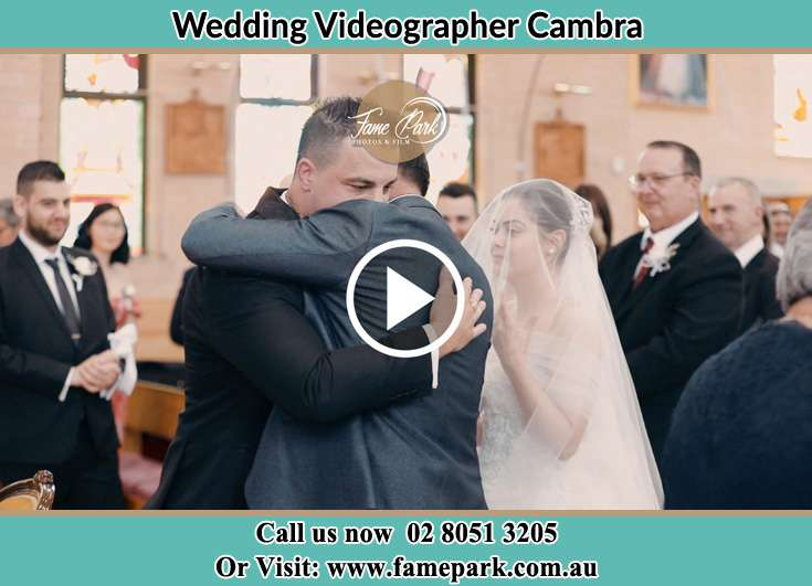 The Groom hug by his bestman Cambra NSW 2420