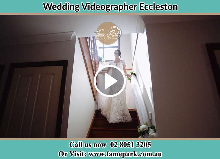 The Bride walking downstairs Eccleston NSW 2311