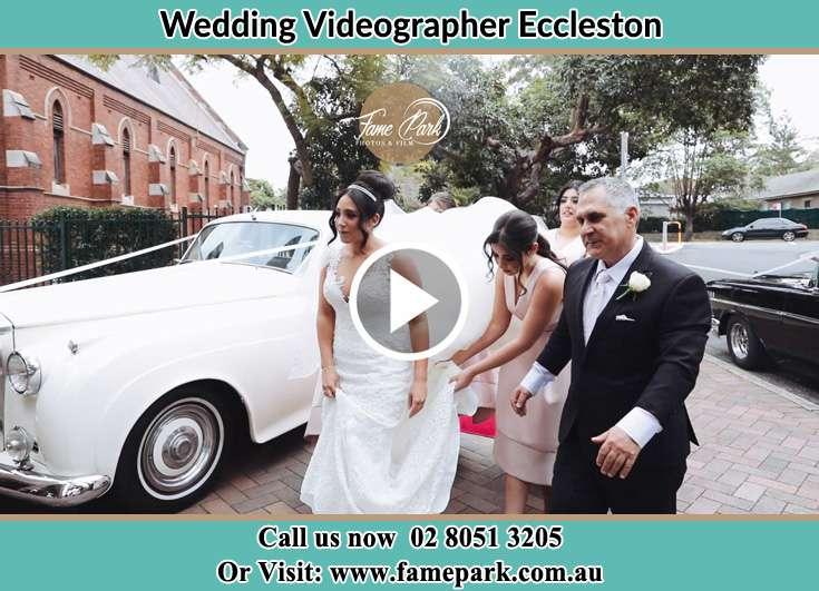 The Bride arrive at the Church Eccleston NSW 2311