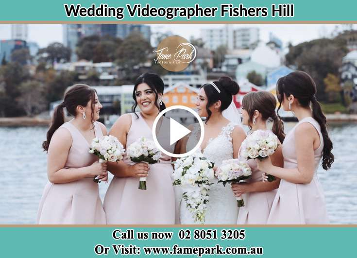The Bride posing for the camera with her bridesmaids Fishers Hill NSW 2421