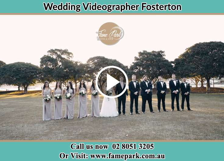 The Groom and the Bride at the park with their best man and bridesmaids Fosterton NSW 2420