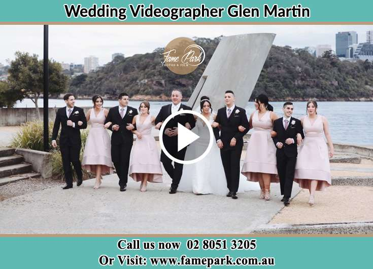 The Groom and the Bride posing with their best mans and brides maids Glen Martin NSW 2321