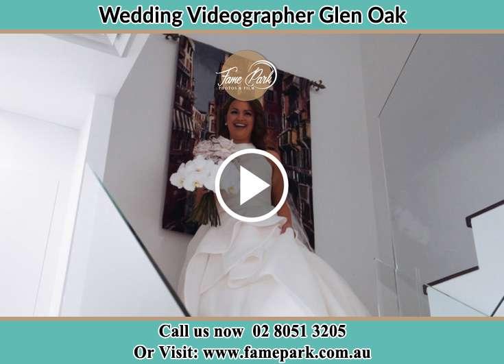 The Bride walking downstairs Glen Oak NSW 2320