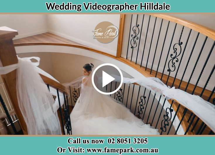 The Bride walking downstairs Hilldale NSW 2420